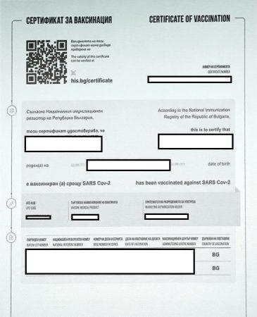 Сертификатът за поставена ваксина отговаря на всички изисквания на ЕС