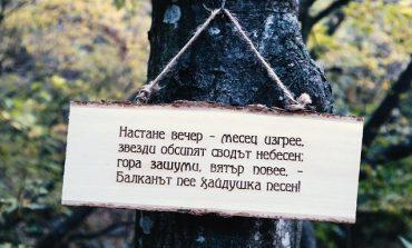 """Младежи от ГЕРБ поставиха табели с куплетите на """"Хаджи Димитър"""" по пътеката за Халката"""
